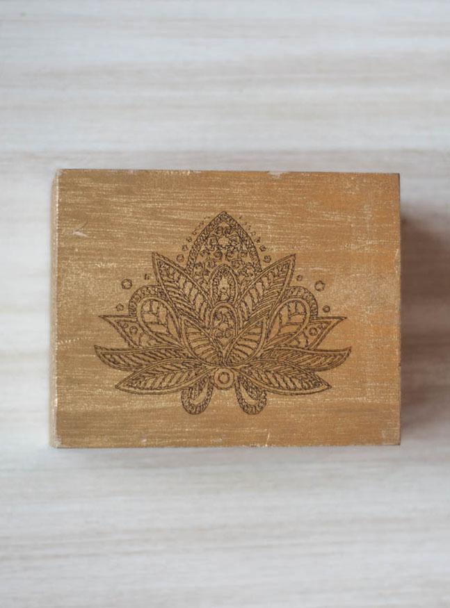 Mandala Lotus Gold Wood Box