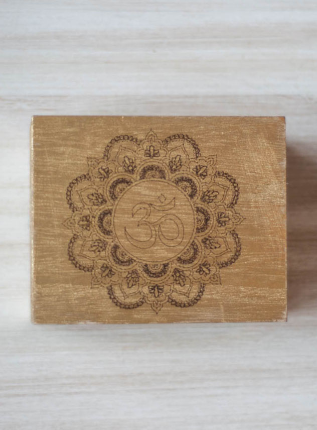 Om Mandala Gold Wood Box