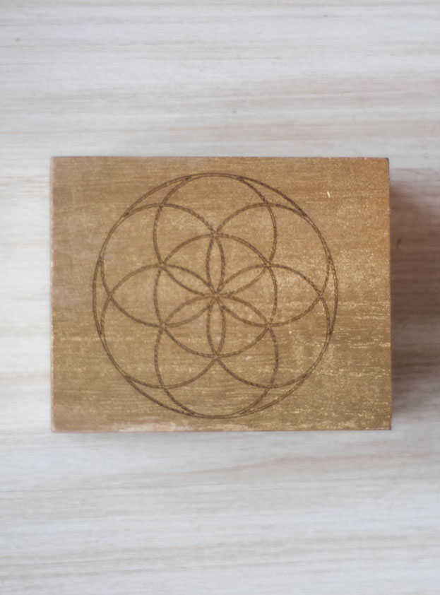 Seed of Life Gold Wood Box