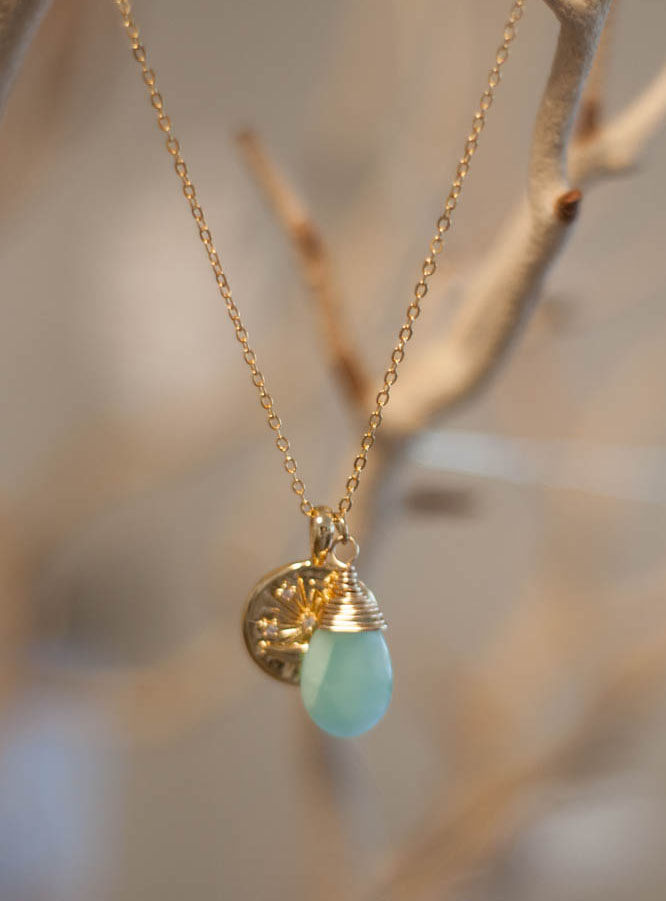 Sun And Moon Amazonite Necklace - gold filled