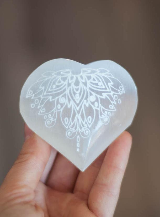 Carved Heart Selenite