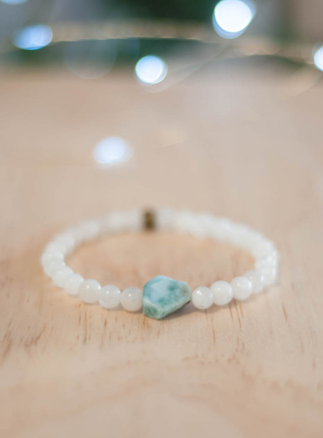 Larimar and Rainbow Moonstone Bracelet 6 mm