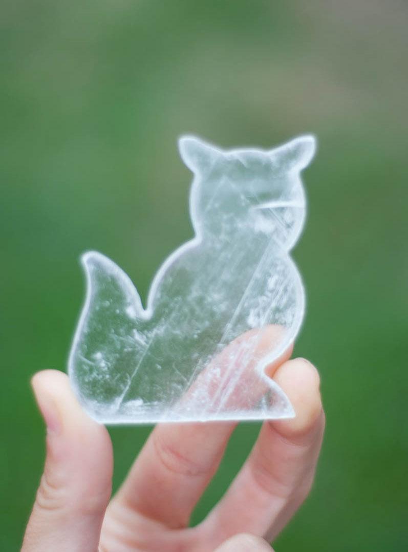 Clear Flat Selenite Cat