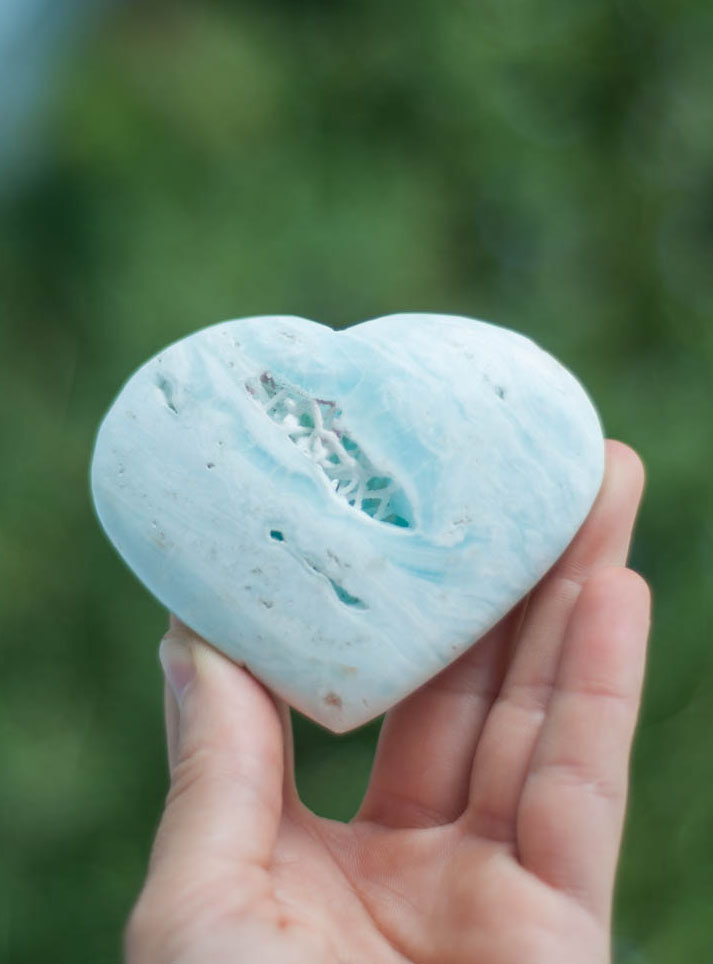 Large Caribbean Light Blue Calcite Heart - Pakistan