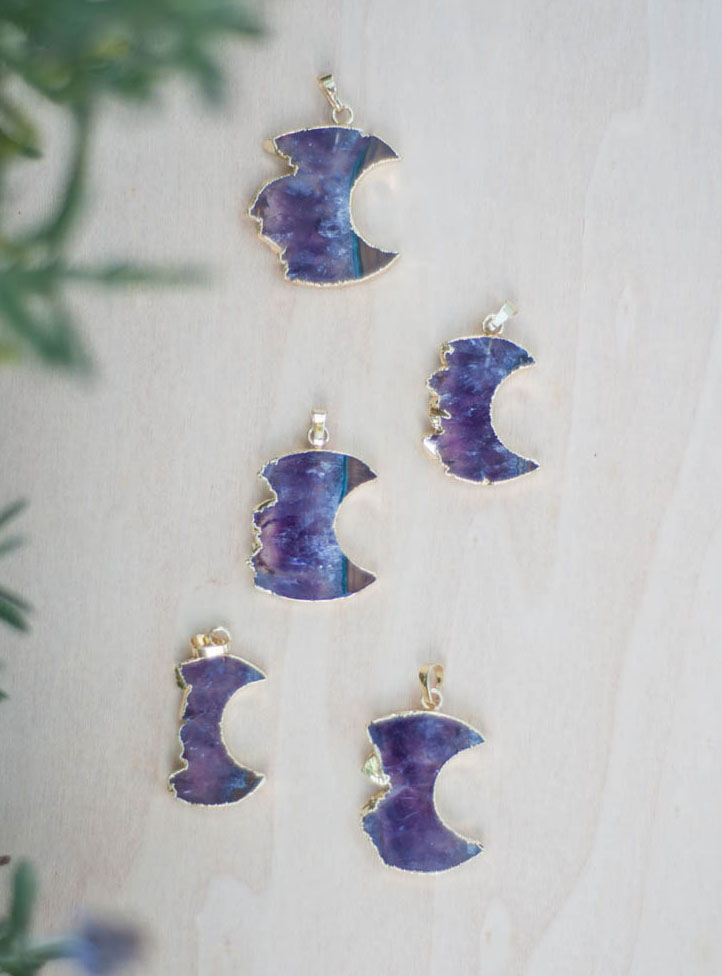 Amethyst Moon Geode Necklace - Gold Color
