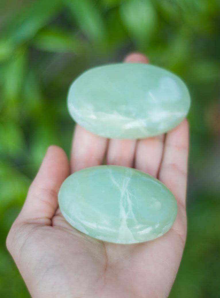 Sea Green Calcite Palm Stone