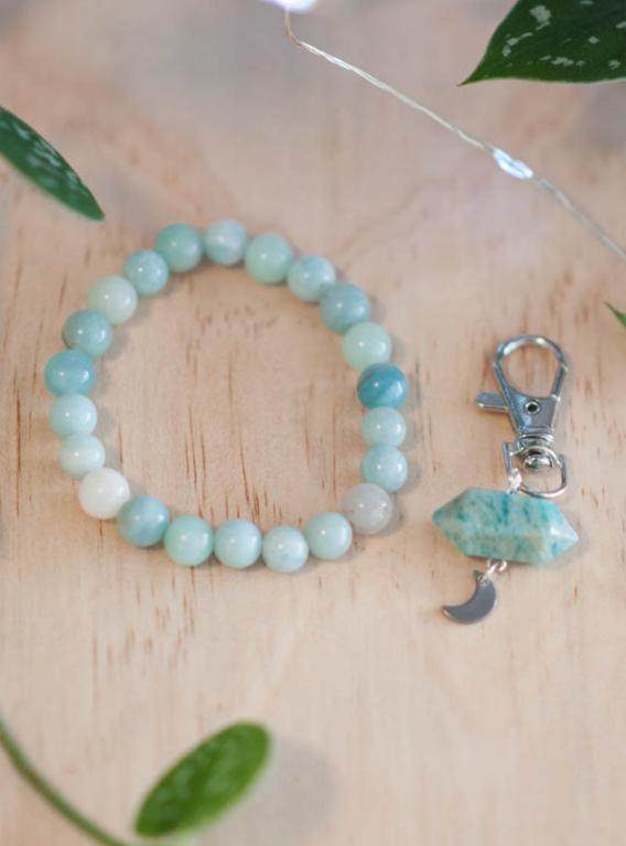 Amazonite Charm and Bracelet Set