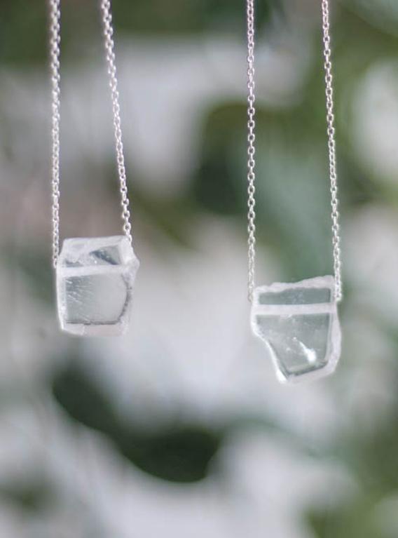 Clear Quartz Slice Pendant - silver