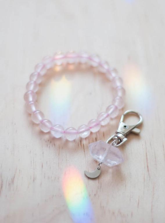 Rose Quartz Charm and Bracelet Set