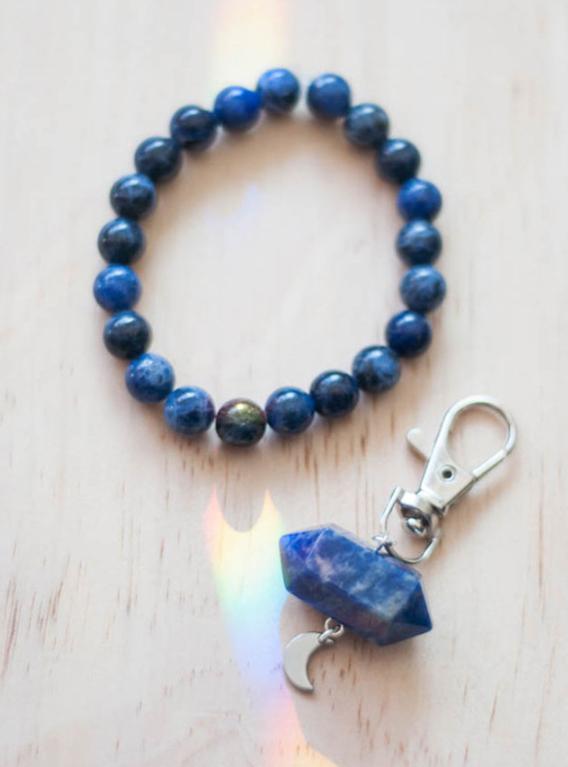 Sodalite Charm and Bracelet Set