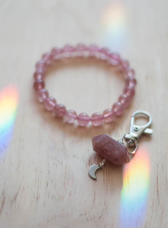 Strawberry Quartz Charm and Bracelet Set